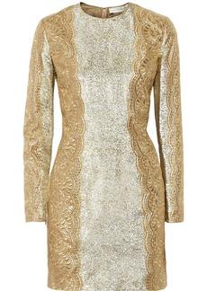 Stella McCartney Embroidered metallic silk-blend mini dress
