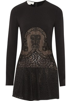 Stella McCartney Fluted crepe and lace mini dress