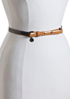 Stella McCartney grey patent colorblock skinny belt