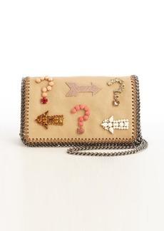 Stella McCartney khaki faux leather 'Falabella' crystal embellished detail crossbody bag