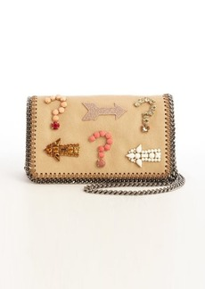 Stella McCartney khaki faux leather 'Falabella' crystal embellished detail crossbody bag