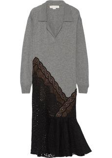Stella McCartney Lace-trimmed wool midi dress