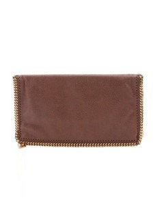 Stella McCartney maple faux suede 'Falabella' foldover clutch