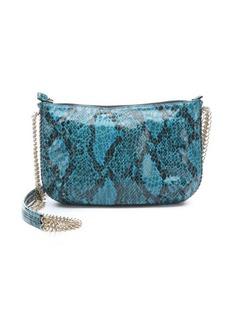Stella McCartney medium blue faux python 'Bailey Boo' crossover shoulder bag