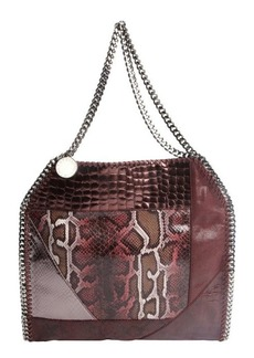 Stella McCartney plum multi-textured leather animal print braided chain accent shoulder bag