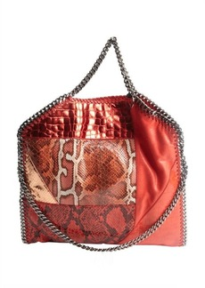Stella McCartney red and orange faux suede animal print accent 'Falab' braided chain detail shoulder bag