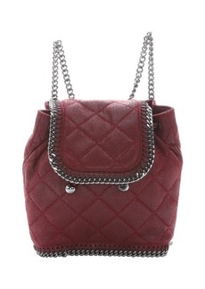 Stella McCartney red quilted faux suede 'Falabella' mini backpack