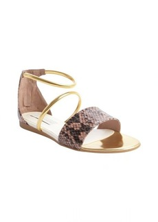 Stella McCartney rose and gold faux leather embossed detail flat sandals