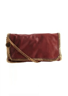 Stella McCartney rouge faux leather 'Falabella' braided chain detail messenger bag