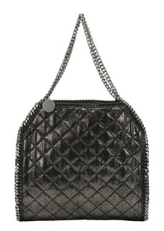 Stella McCartney ruthenium metallic quilted faux suede 'Falabella' chain shoulder bag