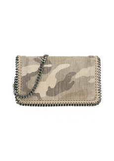 Stella McCartney sand and olive green camouflage canvas 'Falabella' chain shoulder bag