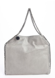 Stella McCartney silver faux leather 'Falabella' braided chain detail tote
