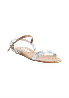 Stella McCartney silver leather jewel studded flat sandals
