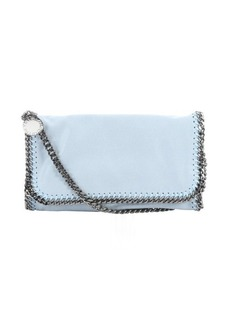 Stella McCartney sky blue faux suede 'Falabella' braided chain detail shoulder bag