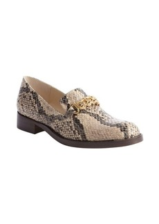 Stella McCartney tan and black python embossed leather gold strap loafers