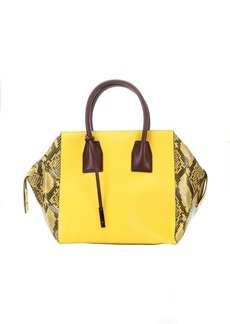 Stella McCartney yellow faux leather and faux suede top handle boston bag