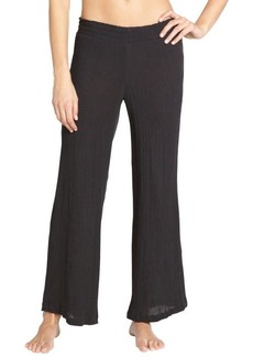 Steve Madden black pleated cotton wide leg pant coverup