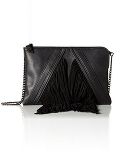 Steve Madden Blenora Fringe Clutch Crossbody Convertible Clutch, Black, One Size
