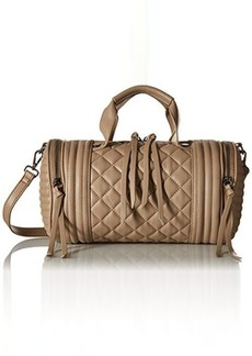 Steve Madden Bpeyton Quilted Barrel Satchel Bag, Taupe, One Size
