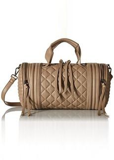 Steve Madden Bpeyton Quilted Barrel Satchel Shoulder Handbag, Taupe, One Size