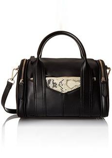 Steve Madden Bpully Mini Barrel Satchel Shoulder Handbag, Black/Multi, One Size