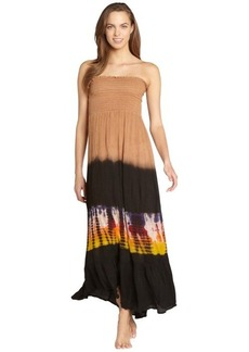 Steve Madden brown crinkled and tie dye maxi dress coverupp
