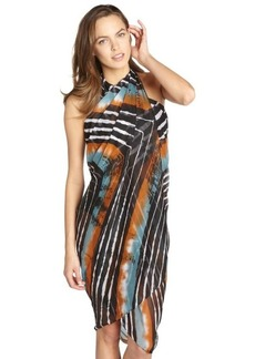 Steve Madden brown printed pareo swim coverup