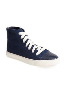 Steve Madden 'Eastman' Suede & Snake Embossed Leather Sneaker (Women)
