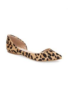 Steve Madden 'Elusion' Leopard Print Calf Hair Half d'Orsay Flat