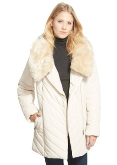Steve Madden Faux Fur Collar Asymmetrical Zip Quilted Coat