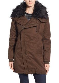 Steve Madden Faux Fur Collar Cotton Twill Parka