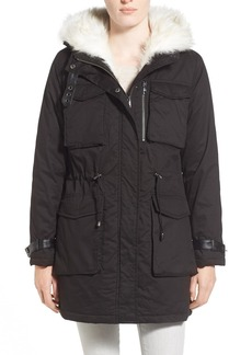 Steve Madden Faux Fur Trim Hooded Cotton Parka