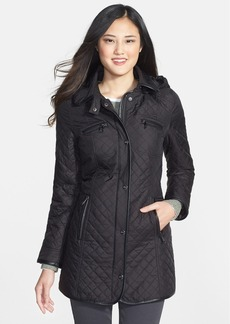 Steve Madden Faux Leather Trim Quilted Walking Coat with Removable Hood