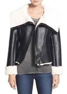 Steve Madden Faux Shearling Crop Moto Jacket