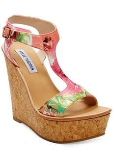 Steve Madden Iluvit T-Strap Platform Wedge Sandals Women's Shoes