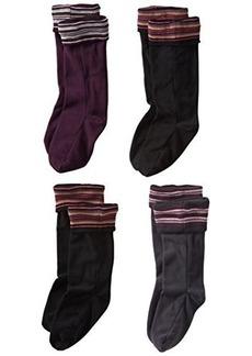 Steve Madden Legwear Women's 4 Pack Stripe Fleece Boot Liner
