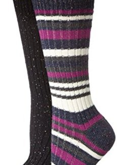 Steve Madden Legwear Women's Two-Pack Bright-Stripe and Solid Boot Socks