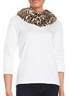 STEVE MADDEN Leopard Print Faux Fur Scarf