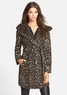 Steve Madden Leopard Print Hooded Wrap Coat