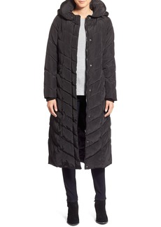 Steve Madden Long Hooded Pillow Collar Puffer Coat