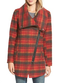 Steve Madden Plaid Asymmetric Zip Coat