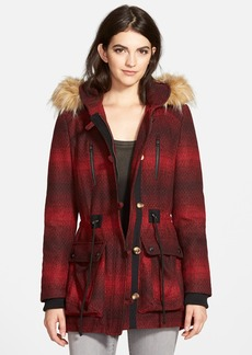 Steve Madden 'Red Stripe' Hooded Duffle Coat with Faux Fur Trim (Online Only)