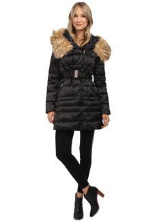 Steve Madden Satin Puffer Asymetric Zip Puffer Coat