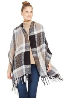 Steve Madden Super Texture Plaid Metallic Blanket Wrap