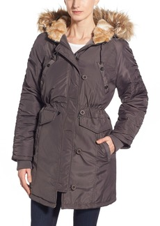 Steve Madden Three Quarter Length Satin Parka with Faux Fur Trim