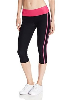 Steve Madden Women's Capri Legging with Contrast Waist and Leg Stripes