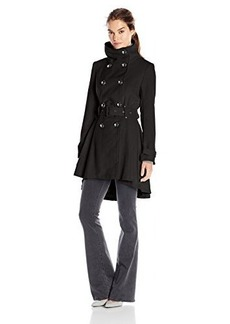 Steve Madden Women's Double Breasted Wool Trench Coat with Belt, Black, Medium