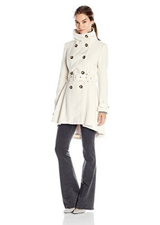 Steve Madden Women's Double Breasted Wool Trench Coat with Belt, Ivory, Large