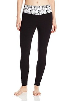 Steve Madden Women's Fitted Yoga Pant with Abstract Print Waist Band