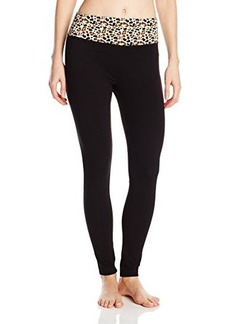 Steve Madden Women's Fitted Yoga Pant with Animal Print Waist Band